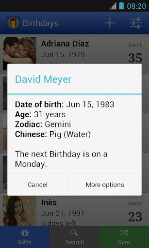 Birthdays for Android 5.0.6 screenshots 2