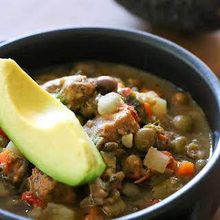 Slow Cooker Pork and Gandules (Pigeon Peas) Stew.
