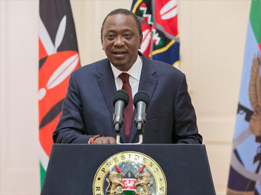 President Uhuru Kenyatta during a national address from State House, Nairobi, August 7, 2017. /PSCU