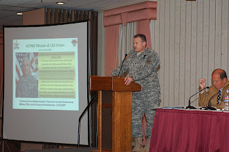 Photo: Col. Hannah provided a background briefing on the Army Center of Excellence for the Professional Military Ethic.