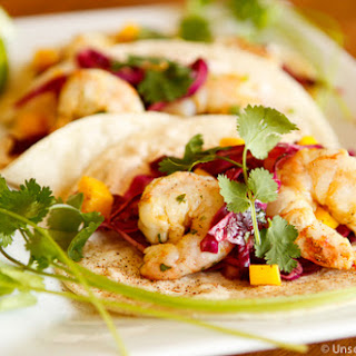 Grilled Shrimp Tacos with Spicy Mango Slaw.