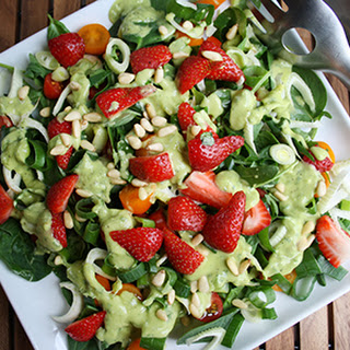 Arugula Strawberry Salad with Divine Green Dressing