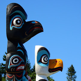 Totem poles by Carol Leynard - Artistic Objects Other Objects ( native carvings, indigenous, carvings, wood, aboriginal carving, totem poles )
