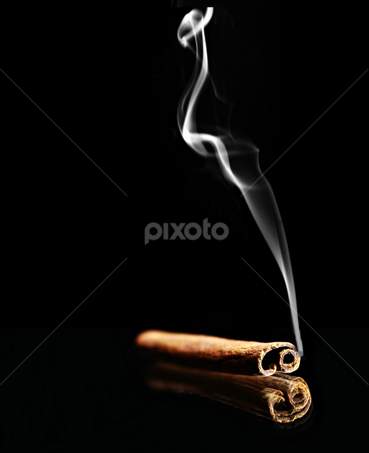 Smoking hot cinnamon. by Dipali S - Artistic Objects Other Objects ( curve, cigarette, smooth, mystery, spice, business, flame, no people, fumes, smoking, striped, black, abstract, igniting, spray, cinnamon, flowing, silver, backgrounds, white, burning, gray, smoke, close-up, fire, magic trick, wave pattern, fog, food, background, squiggle, air, softness, scented, steam )