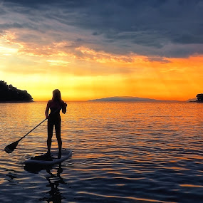 Paddleboard nymph by Michal Fokt - Sports & Fitness Watersports ( sunset, paddleboard, paddle )