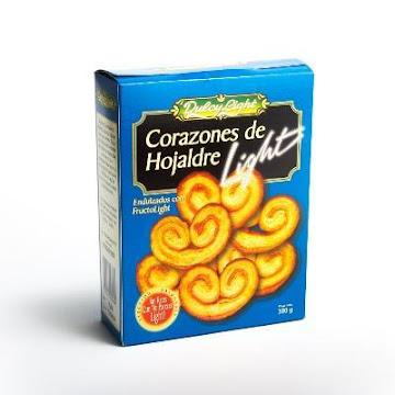 Pasabocas Dulcy Light   Corazones De Hojaldre Caja X180G.