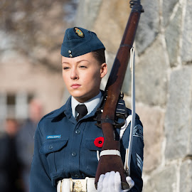 Eyes Forward by Garry Dosa - People Portraits of Women ( poppy, remembrance day, uniforms, people, standing, celebration, blue, outdoors, ceremony, person, solemn, female, rifle )