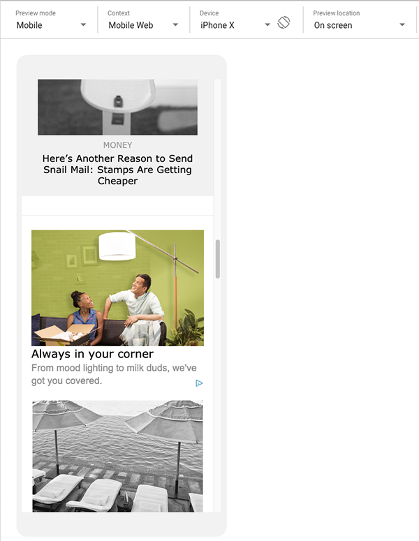 realsimple.com mobile page with native site ad preview