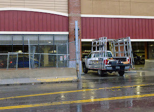 Photo: What's wrong with THIS picture? He doesn't really think that truck is going to fit in that parking ramp, does he? (Under the new Wegmans.)