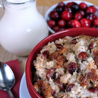 Slow Cooker, Eggnog Cranberry Steel-Cut Oatmeal