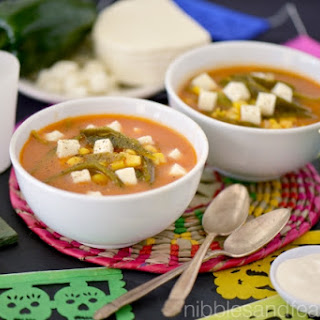 Poblano and Corn Soup with Panela Cheese and Crema Agria.