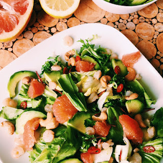Healthy Shrimp Salad With Avocado And Grapefruit.