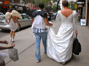 Photo: Finally walking to the gay pride march, University Place between East 12 and East 13 streets, Greenwich Village, 26 June 2011. (Photograph by Elyaqim Mosheh Adam.)