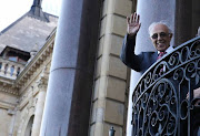 Ahmed Kathrada on the balcony of the City Hall where he received the Freedom of the City from Mayor of Cape Town Patricia de Lille during a ceremony on November 26, 2015.