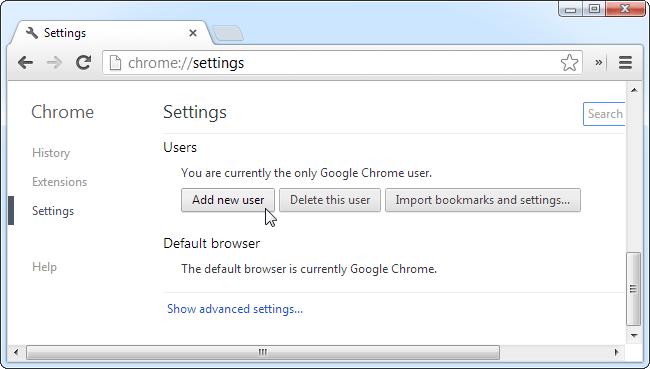 Add on a new user to Chrome - Screenshot