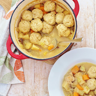 Roast Chicken Leftovers Stew with Easy Peasy Dumplings Recipe