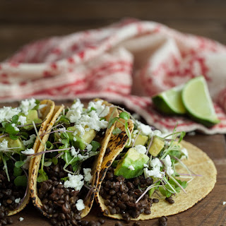Chipotle Lentil Tacos with Avocado and Micro Greens.