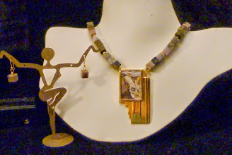 Photo: <BEREHYNYA> {Great Goddess Protectress} unique one-of-a-kind statement jewellery by Luba Bilash ART & ADORNMENT  COURSE OF TIME – ПЛИН ЧАСУ - metal & leather pendant, quartz, agate, 14K gold vermeil SOLD/ПРОДАНИЙ