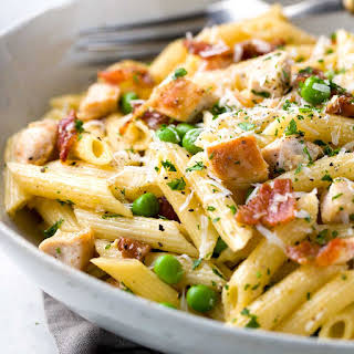 One Pan Chicken Carbonara Penne Pasta.
