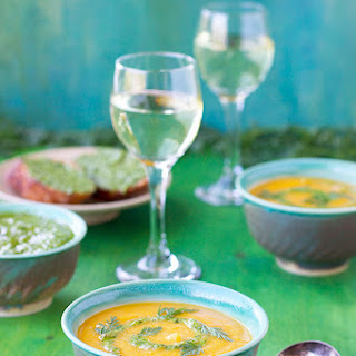 Roasted Carrot Red Lentil Soup with Carrot Top Pesto