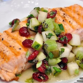 Salmon Grilled With Salsa Pear And Kiwi.