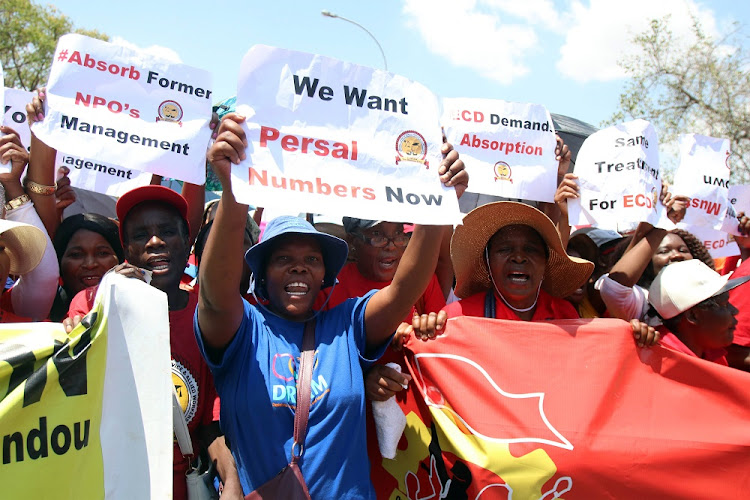 National Union of Public Service and Allied Workers (Nupsaw) members demanding that the wage increase agreement between the government and public servants is honoured. File image.