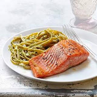Seared Salmon with Pesto Fettuccine.