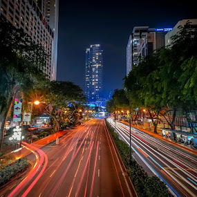 Light Trail at Orchard Road  by Hanafi Salam - Transportation Other