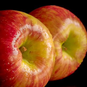 Two Apples by Jim Downey - Food & Drink Fruits & Vegetables ( red, apples, yellow, wet, black )