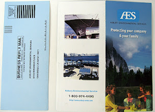 Photo: Outside of the brochure, with the postcard mailer removed