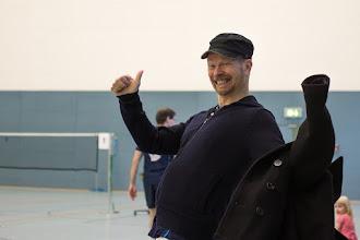 Photo: Harald bei der Ankunft in der Halle - wie immer prächtig gelaunt :-)