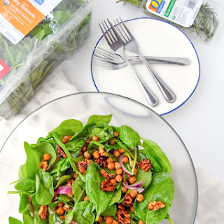 Warm Spinach Salad with Rosemary Roasted Walnuts and Chickpeas