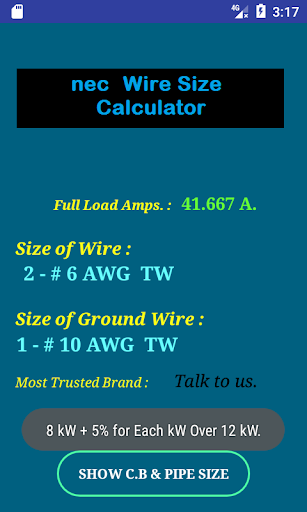 Nec wire size calculator free apk 106 download only apk file for nec wire size calculator free greentooth Gallery