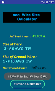 Nec wire size calculator free android apps on google play nec wire size calculator free screenshot thumbnail greentooth Images