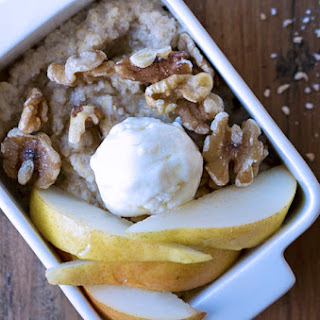 Goat Cheese & Pear Oatmeal with Honey & Walnuts