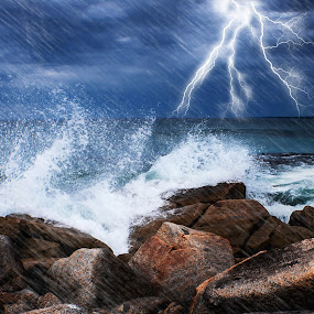 Bay of Fires Storm!! by Jan Murphy - Landscapes Weather ( bay of fires, lightning, tasmania, waves, sea, ocean, rough, rocks,  )