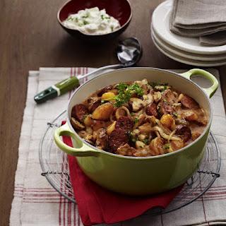 Easy Pork, Mushroom and Chorizo Stew.