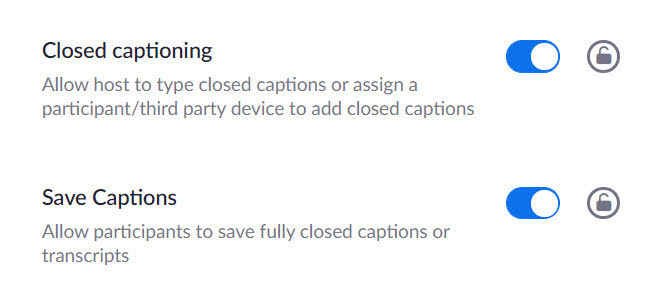 zoom settings for closed captions