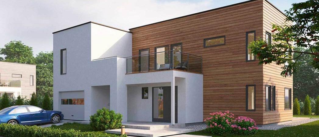 Et moderne hus med integrert garasje i hvit mur og treverk, arkitektdesignet hus, arkitekt hus, arkitekt Bergen