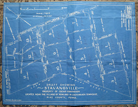 Photo: Osmund (Oscar) Osmundsen's 1950 blueprint of Stavangville subdivision in Rowland PA. The land to be developed was below Lafe Road. The land where his new home and the old school house were located was above Lafe Road and below Rowland Hill Rt 590.