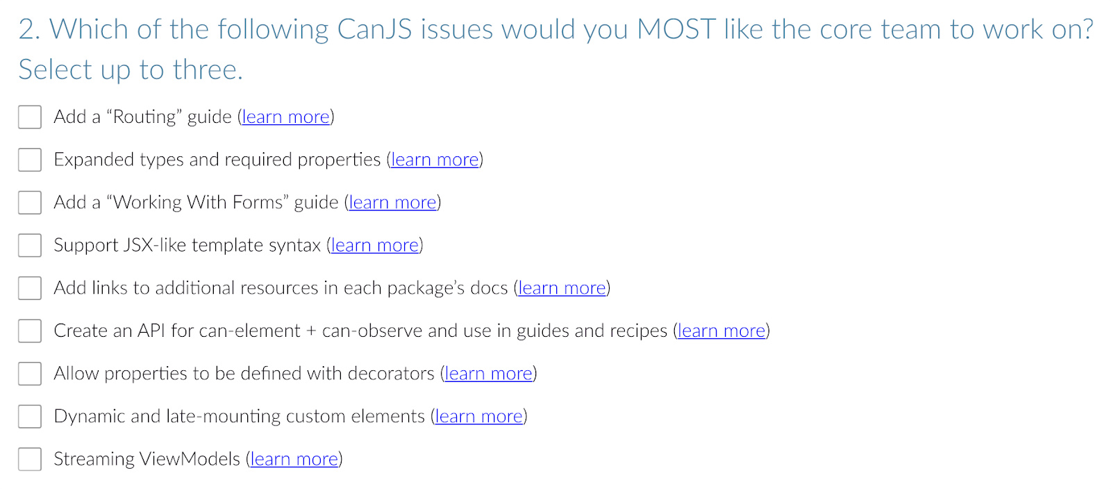 Questions from the CanJS section of the survey.