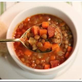 Lentil Soup with Chorizo Recipe / Receta de Sopa de Lentejas con Chorizo
