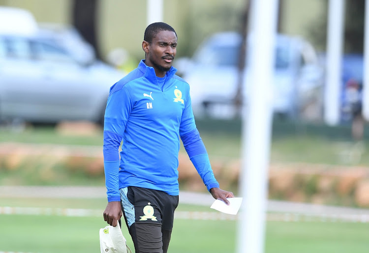 Mamelodi Sundowns coach Rulani Mokwena at a training session at Chloorkop in Johannesburg on April 8, 2021.