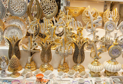 ornamental-decorations.jpg - Gold- and silver-colored ornamental decorations at the Grand Bazaar.