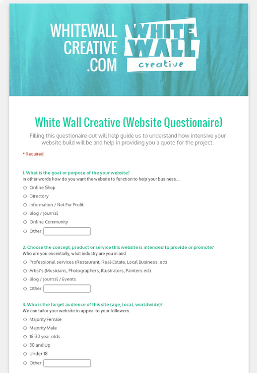 White Wall Creative (Website Questionaire)