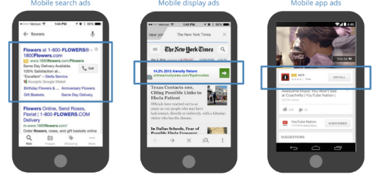 Mobile search ads, display ads and app ads