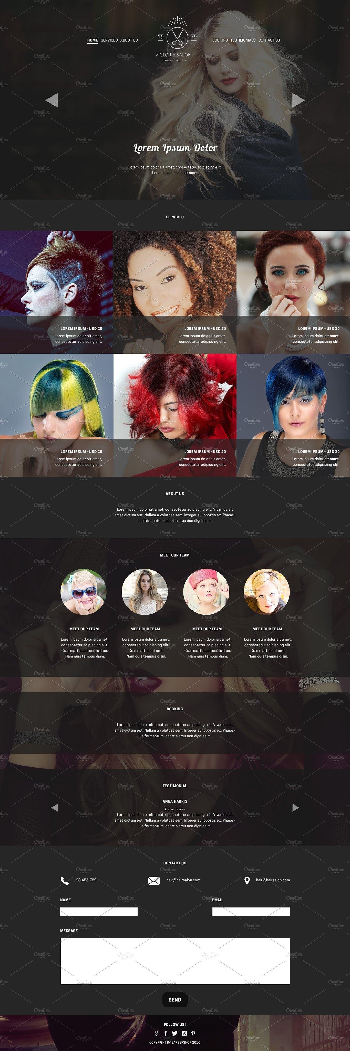 Hair Salon Psd Website Template 677125 Sourcepsd Com