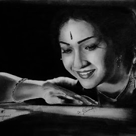 Mahanati  Savitri garu by Surender Gangineni - Drawing All Drawing ( love, actress, beautiful, art, movie, pixoto, drawing, artistic, charcoal, pencil )