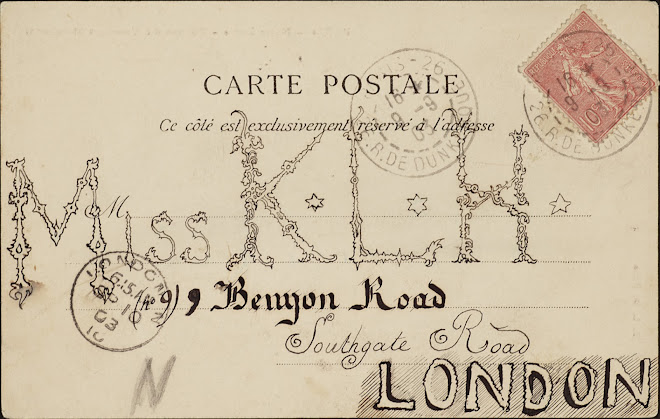 <p> <strong>L&eacute;on Coupey</strong><br /> <strong>To Miss K.L.H. (London)</strong><br /> Ink on card<br /> 3 &frac12;&quot; x 5 &frac12;&quot;<br /> 1903</p> <p> Collection Karim Barbir, Houston<br /> Estate of Marguerite Coupey Barbir, Montreal<br /> Set 3B.1&nbsp;</p>
