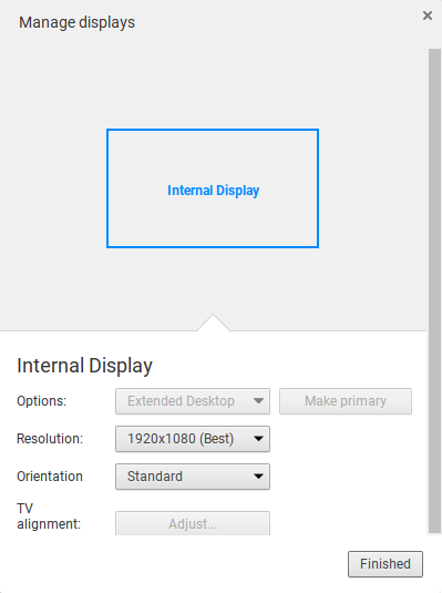 Chromebook display settings.
